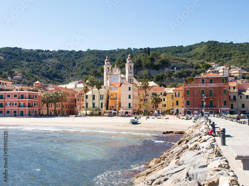 Deurstickers Stad aan het water Laigueglia, view from the sea