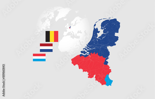 Map of BeNeLux countries with rivers and lakes and the national flags of this countries Canvas Print