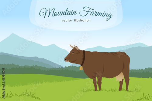 Cow and rural meadow on the mountain background Canvas-taulu