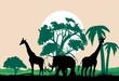 Savannah vector landscape with elephant and giraffes vector silhouettes, vector illustration