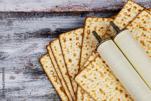 Fotografie, Obraz  Pesah celebration and Torah scroll during jewish Passover holiday