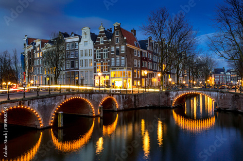 Amsterdam Canal at Blue Hour Wallpaper Mural