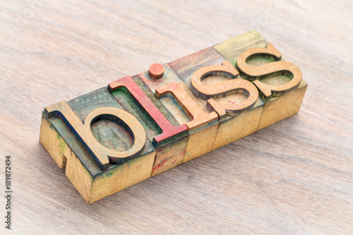 Photo bliss word abstract in wood type