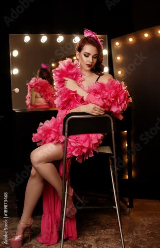Pretty sexy girl in cabaret Canvas Print