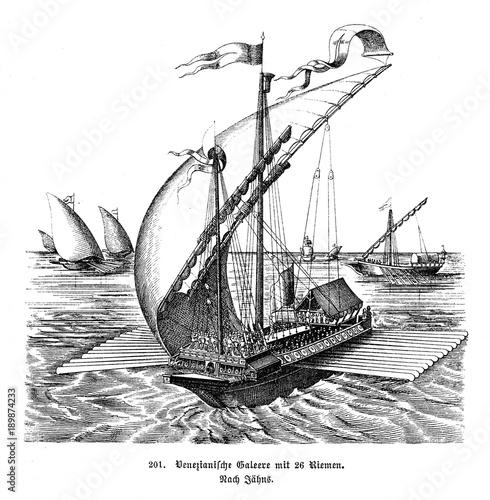 Venetian galley with 26 oars (from Spamers Illustrierte  Weltgeschichte, 1894, 5 Wallpaper Mural