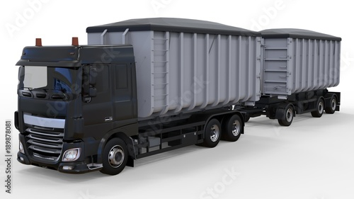 Stampa su Tela  Large black truck with separate trailer, for transportation of agricultural and building bulk materials and products