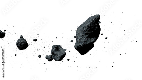 Fotografie, Obraz  a swarm of asteroids isolated on white background