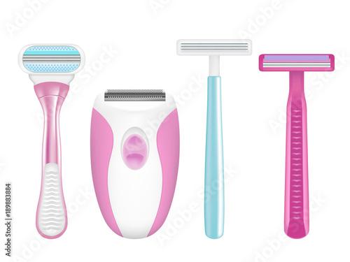 Shaving razor mockup set, vector realistic illustration