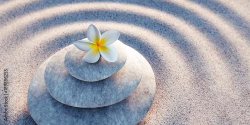 Foto op Plexiglas Stenen in het Zand Steinturm mit Blüte in Sandwellen