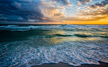 Big Clouds Billowing Over The Ocean