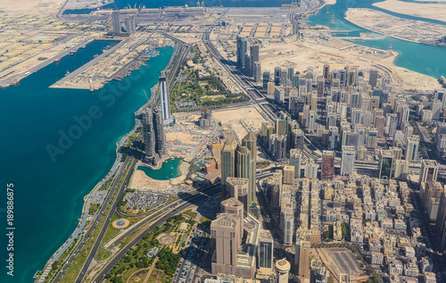 Poster Abou Dabi Aerial view from helicopter to Abu Dhabi