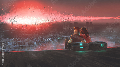 Foto op Aluminium Grandfailure end of world concept showing a young couple looking at nuclear explosion destroying city, digital art style, illustration painting