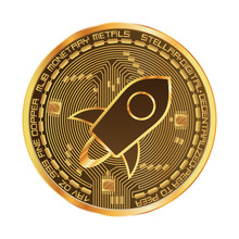 Crypto Currency Golden Coin With Stellar Symbol On Obverse Isolated On Black Background. Vector Illustration. Use For Logos, Print Products, Page And Web Decor Or Other Design.