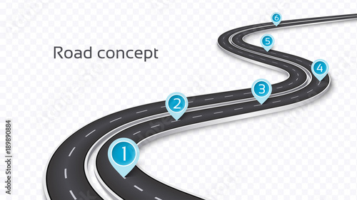 winding 3d road concept on a transparent background timeline template