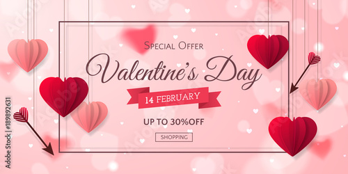 Fotografie, Obraz  Vector romantic template of sale horizontal banner for Valentine's Day with red and pink realistic paper hearts, arrows, ribbon and frame