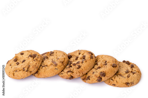 Foto op Aluminium Koekjes chocolate chip cookies isolated on white background