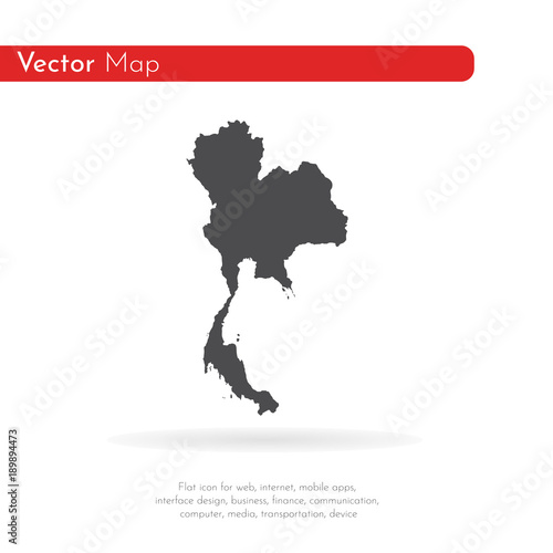 Vector map Thailand. Isolated vector Illustration. Black on ...