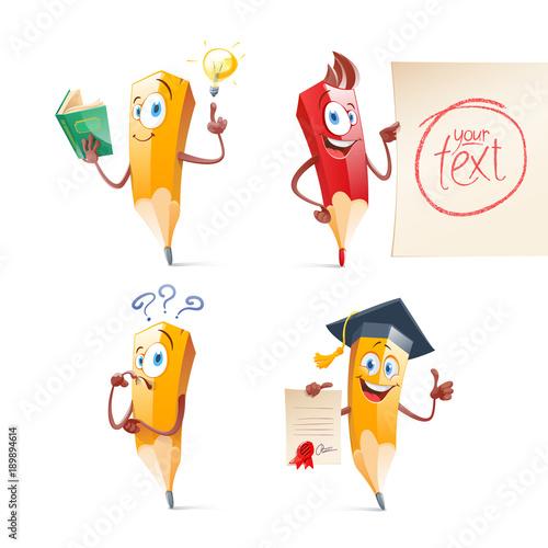 Set of cute funny pencil cartoon. Education, school Canvas Print