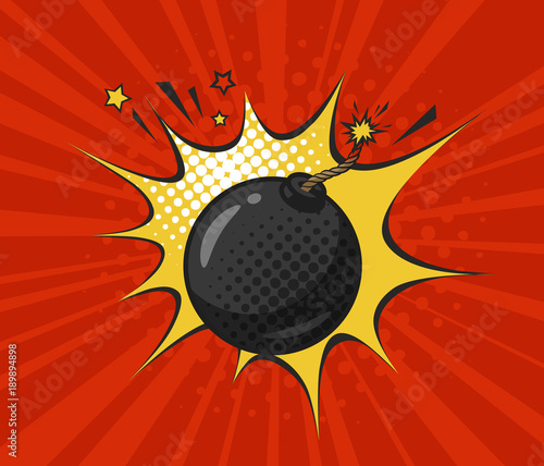 Round black bomb with burning fuse, drawn in retro pop art style Tablou Canvas