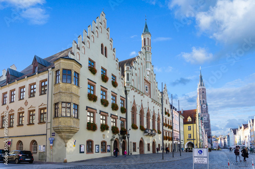 Acrylic Prints Old building Fußgängerzone in Landshut Rathaus