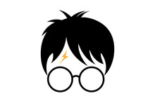 Icon Of A Wizard Boy With Glasses, Vector Isolated