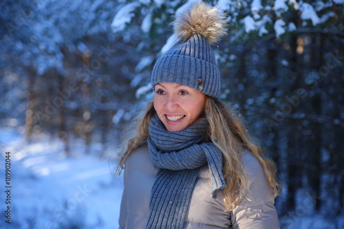 Recess Fitting Fantasy Landscape portrait of a beautiful girl close-up on a winter forest background in the snow