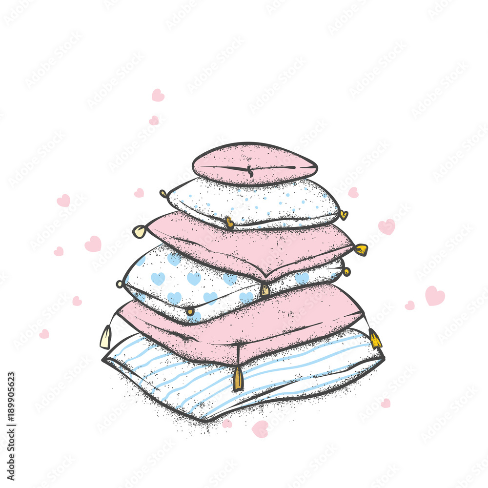 Fototapeta A pile of pillows with hearts. Valentine's Day, love and friendship. Illustration for a postcard or a poster.