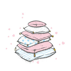 A pile of pillows with hearts. Valentine's Day, love and friendship. Illustration for a postcard or a poster.