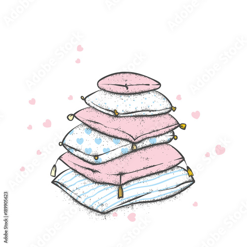 A pile of pillows with hearts Fototapeta