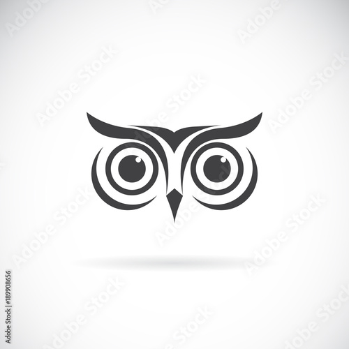 Photo Stands Owls cartoon Vector of an owl face design on white background. Bird logo. Wild Animals. Easy editable layered vector illustration.