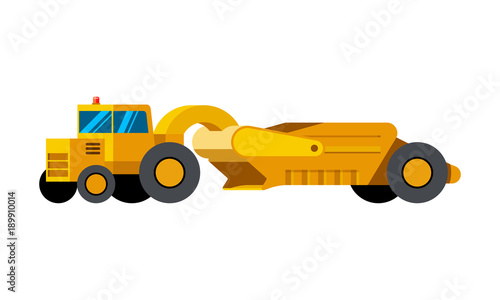Tractor Scraper Minimalistic Icon Isolated Construction Equipment Vector Heavy Vehicle Color