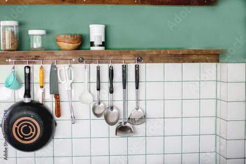 Kitchen utensils on work top in modern kitchen, kitchen ...