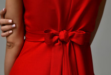 Closeup Details Of Woman Red D...