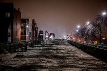 Night Construction Site Of The City Of Chicago's Western Avenue Viaduct Bridge Featuring Demolition Machinery And Bulldozers.