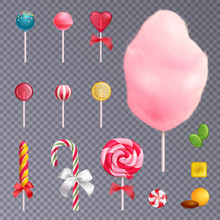 Realistic Sweets Transparent Background Set