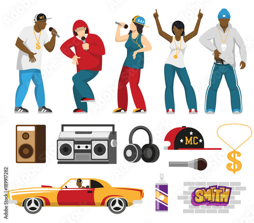 Fotografie, Obraz  Rap Singers Accessories Flat Set