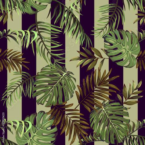 Materiał do szycia Wzór z liści roślin tropikalnych i egzotycznych na paski tle