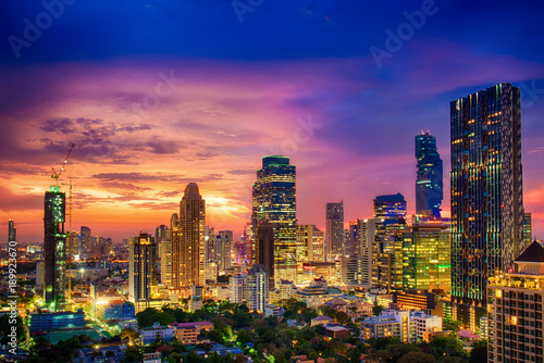 Modern building increasing number in Bangkok Canvas Print