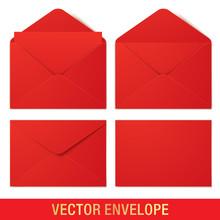 Set Of Red Vector Envelopes In...