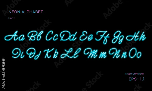 Neon alphabet font. Blue neon font. Vector illustration.