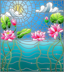 Naklejka Illustration in the style of stained glass with a water landscape, Lotus flowers against the background of the pond, sky and sun
