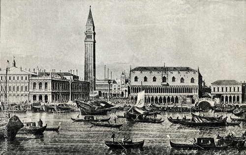 Obraz Piazzetta and Riva degli Schiavoni, Venice; by Canaletto, between 1730 and 1740(from Spamers Illustrierte  Weltgeschichte, 1894, 5[1], 483) - fototapety do salonu