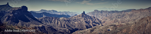 Poster Donkergrijs Mountainous landscape of Gran Canaria in Spain / Mountain peak of
