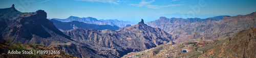 Foto op Plexiglas Blauw Mountainous landscape of Gran Canaria in Spain / Mountain peak of