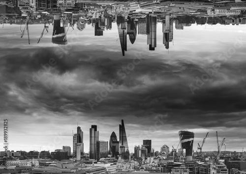 Black and white sci-fi futuristic fantasy image of upside down city landscape