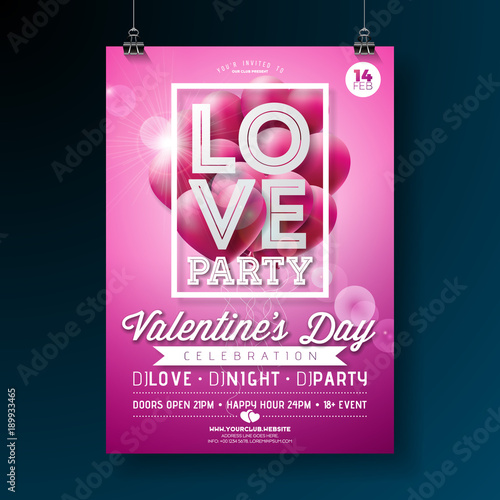 valentines day party flyer design with love typography letter and flying balloon heart on pink background