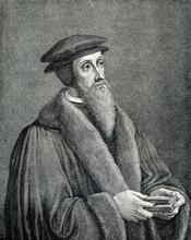 John Calvin, French Theologian, Pastor And Reformer In Geneva  (from Spamers Illustrierte  Weltgeschichte, 1894, 5[1], 503)
