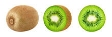 Set Of Whole And Slice Kiwi Fruits Isolated