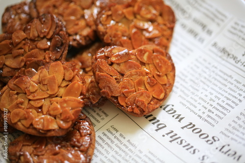 Canvas Print florentine cookies with heart shaped in valentine day
