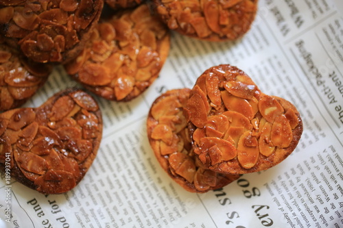 florentine cookies with heart shaped in valentine day Canvas Print